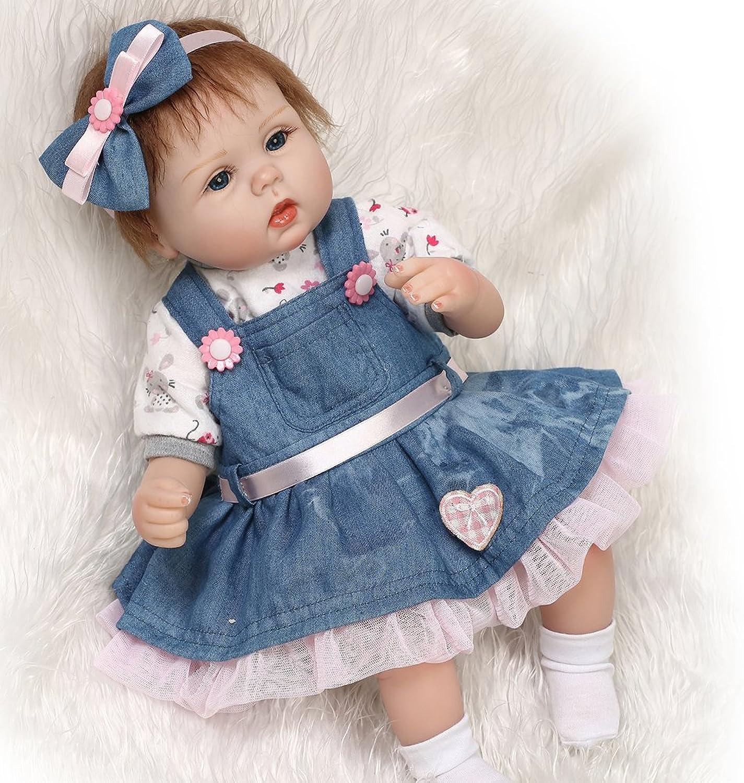 17  Neugeborenen Puppen Silikon Vinyl 45 CM Reborn Babys Puppe für Mädchen Geschenke Hots, geeignet für Kinder ab 3 Jahren B075VLMWFC Der neueste Stil  | Qualität und Quantität garantiert