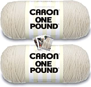 Caron One Pound Yarn - 2 Pack with Patterns (Off White)