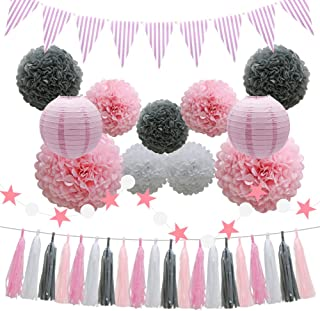 Party Decorations Supplies - Pink Baby Shower Birthday Decorations - 33pcs Tissue Paper Pom Poms Flowers Paper Lanterns Tassels Hanging Garland Banner Triangle Flag Bunting - Bridal Wedding Graduation