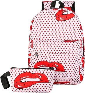 Diamondo Women Nylon 3D Smile Printed Backpack Travel Outdoor School Bag