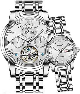 Aesop Luxury Skeleton Men Women Day Date Analog Automatic Self Winding Mechanical Wrist Watch Set with Steel Band Luminous Waterproof Silver White