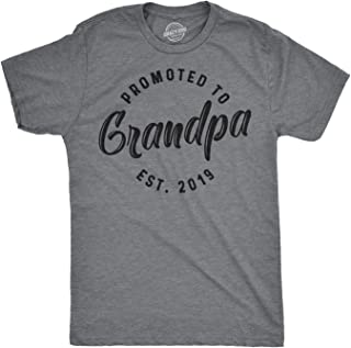 Mens Promoted to Grandpa 2019 Tshirt Best Grandfather T Shirt New Papa