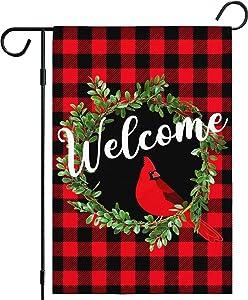 Cardinal Christmas Garden Flags for Outside 12x18 Inch, Christmas Wreath Welcome Garden Flag Burlap Vertical Buffalo Plaid Christmas Garden Flag Double Sided, Rustic Xmas Flag Holiday Yard Decor Flag