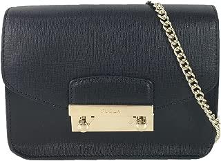 Julia Saffiano Leather Mini Crossbody Bag, Onyx/Gold