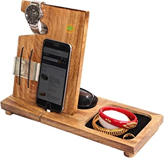 abhandicrafts - Wooden Docking Station with Elastic Bands to Hold Money – Wooden Phone Stand, Wallet, Glasses Holder for Dad, Men,Women Birthday Anniversary Compatible with All Phone Models