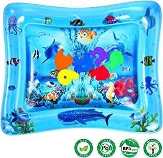 LUKAT Baby Water Play Mat Tummy Time Inflatable Mat for 3/6/9 Month Infants & Toddlers Sensory Toy Activity Center Early Development BPA Free