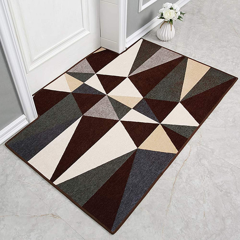 Carpet,Rug Doormat Entrance Doormat Geometric Patterned Anti-skidding Home Decor-Coffee color 90x140cm(35x55inch)