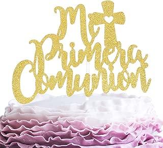 Mi Primera Cpmunion Cake Topper - Religious God Bless Me Cross Cake Décor - Holy First Communion Baby Shower - Mi Bautizo Baptism Feliz Christening Party Decoration