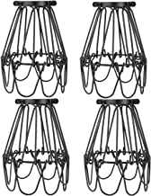 Licperron Lamp Guard, Adjustable Lamp Cage, Black Industrial Vintage Style Light Cage for Pendant Lights, Antique Lamp Holders, Pack of 4