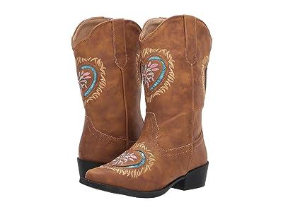 Roper Kids Daisy Heart (Toddler/Little Kid) (Tan Snip Toe/Glitter Heart Embroidery) Cowboy Boots