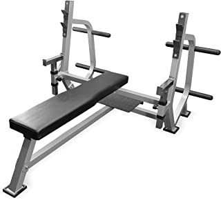 Valor Fitness BF-49 Olympic Bench Press Station with Adjustable Safety Catches, Spotter Stand, and Plate Storage Pegs