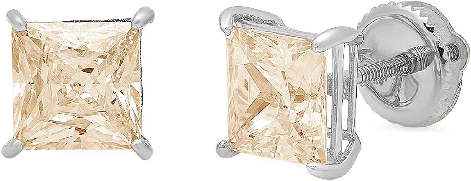 4.0 ct Brilliant Princess Cut Solitaire Flawless Genuine Yellow Moissanite Gemstone Conflict Free VVS1 Ideal Pair of Designer Stud Earrings Solid 18K White Gold Screw Back