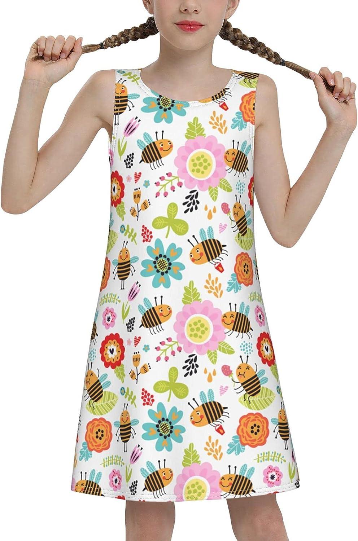 WAMEI Insect Bees Big Girls Sleeveless Dress Summer Beach Dress Casual Tank Outfit Sundress 7-16 Years