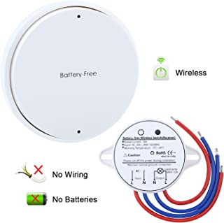Wireless Switch, Remote Control Light Switch and Receiver No Battery No Wiring