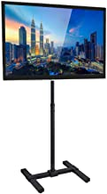 Portable TV Stand Floor Standing - Fits 27 30 32 35 37 40 and 42 inch Televisions, Height Adjustable Telescoping Pole for Indoor and Outdoor Use, VESA 100 and 200, 44 Lbs