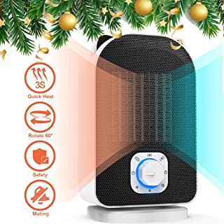 Plustore Space Heater, 110V Mini Electric Ceramic Heater, 5W/650W/1500W Portable Indoor Heater for Home Office, Hot Cool Fan with Adjustable Thermostat, Rotates 60°, Best Gift for Winter