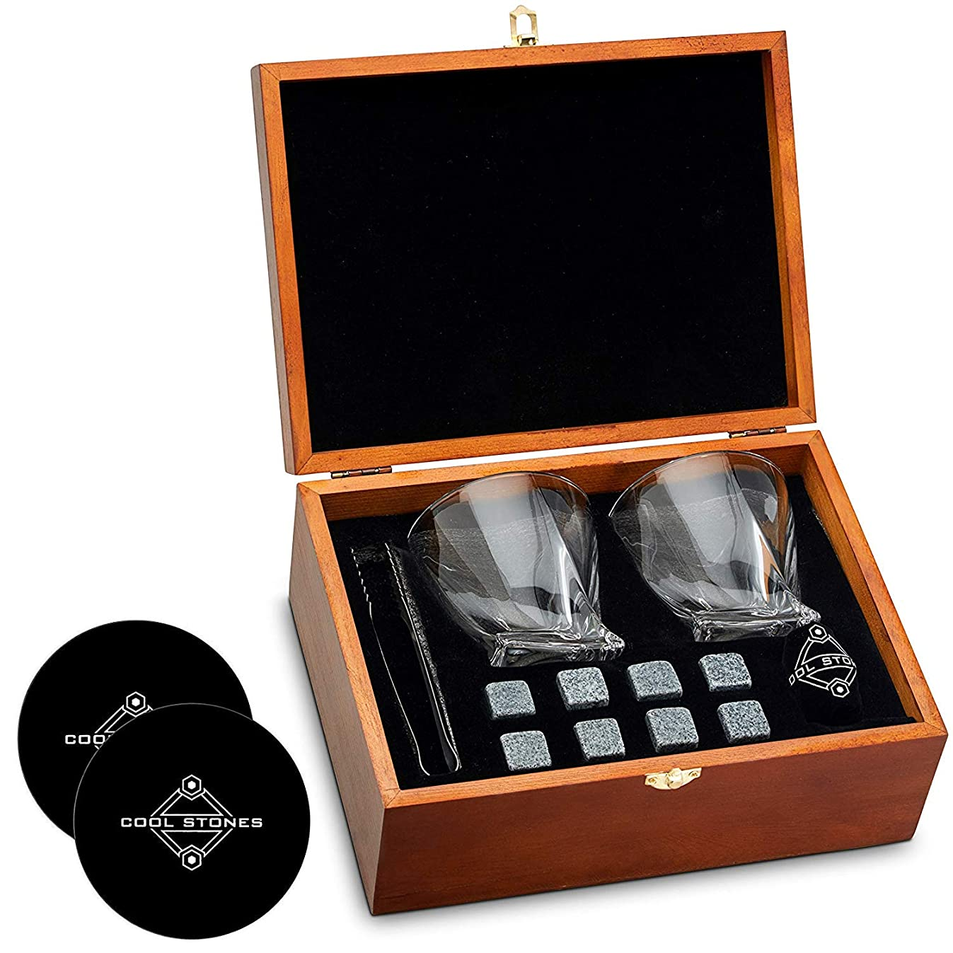 Whiskey Stones and Whiskey Glass Gift Boxed Set - 8 Granite Chilling Whisky Rocks + 2 Crystal Glasses in Wooden Box - Great Gift for Father's Day, Dad's Birthday or Anytime For Dad (+ 2 Free Coasters)