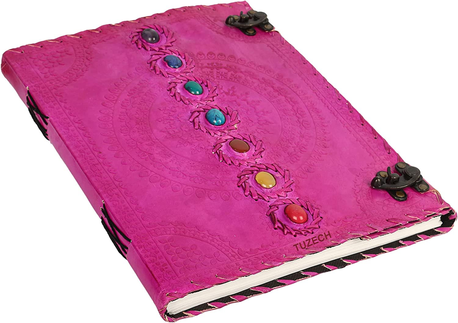 TUZECH Seven Chakra Medieval Stone Embossed Handmade Jumbo Leather Journal Book of Shadows Notebook Office Diary College Poetry Sketch (Pink, 13 Inches)