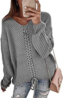Howely Womens Baggy Patchwork Knot Knitted V Neck Long-Sleeve Blouse T-Shirt