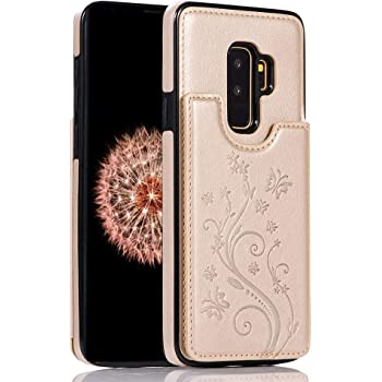 WIWJ Compatible with Samsung Galaxy S10E Phone Case Embossed Butterfly Double Buckle Leather Case Flip Folio Cover Kickstand with Card Holder Wallet Case for Samsung Galaxy S10E-Blue