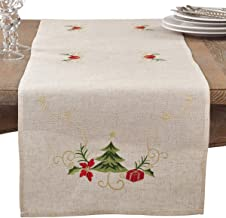 """SARO LIFESTYLE Embroidered Christmas Tree Design Linen Blend Table Runner, 16"""" x 72"""", Natural"""