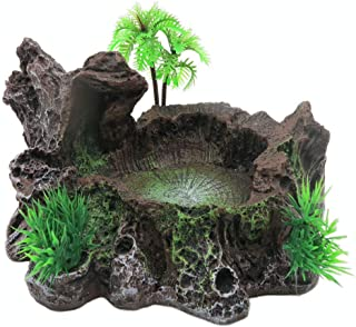 PINVNBY Resin Reptile Platform Artificial Tree Trunk Reptile Tank Decor Food Water Dish Bowl for Bearded Dragon,Lizard, Gecko, Water Frog,Snake