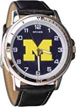 Men's Classic Leather Sports Watch (Michigan Wolverines (Black))