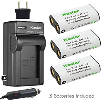 Compatible with Kodak CR-V3 Digital Camera Battery and Charger Replacement for Kodak Z1485 is Zoom Battery 1300mAh 3.3V Lithium-Ion 2 Pack Charger