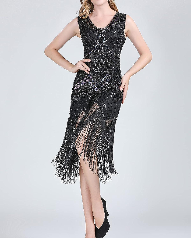 Whitewed Long Deco Fringe V Neck Heavy Beaded 20's Gatsby Style Clothing Dresses