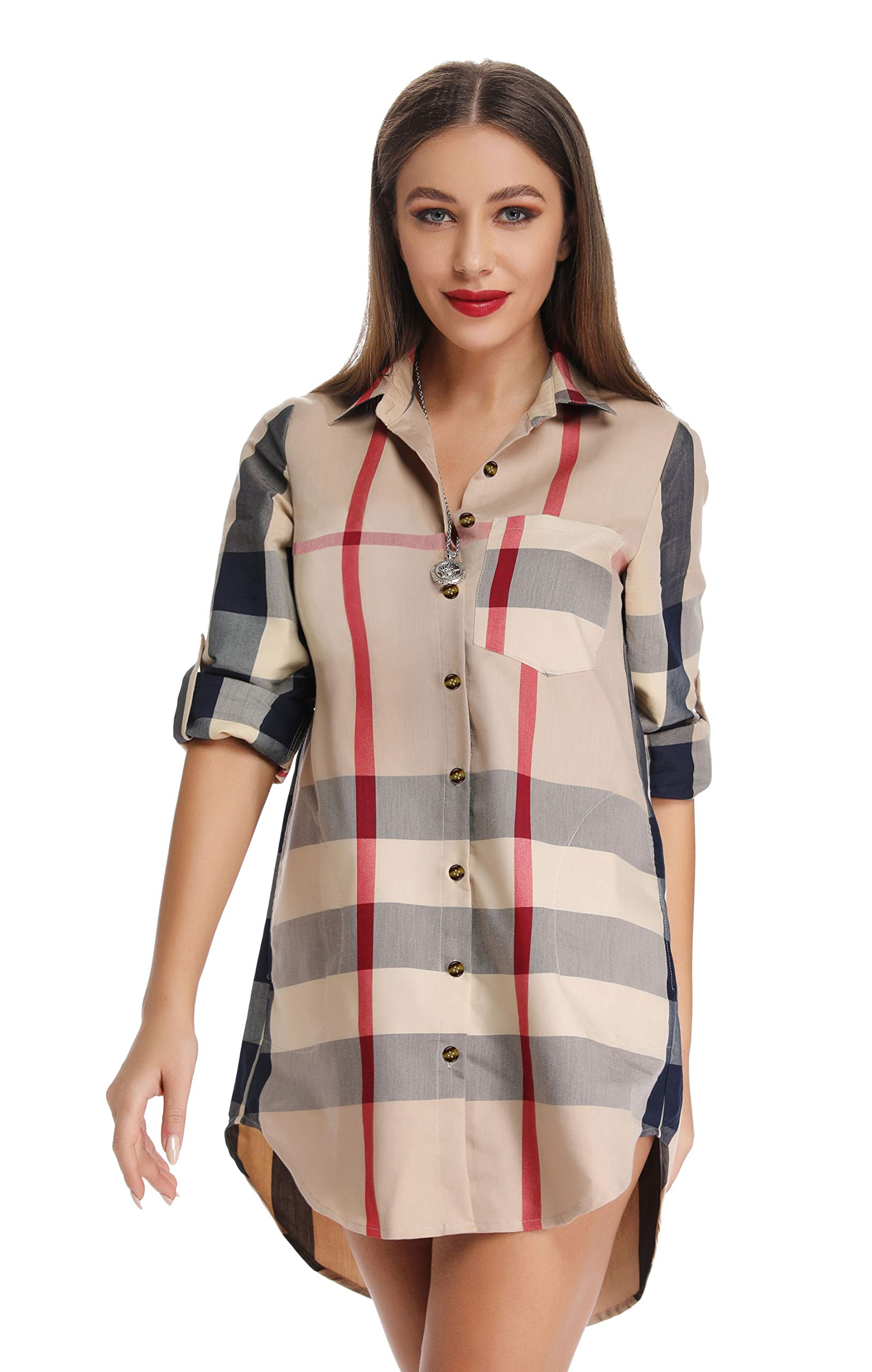 Shirt Dress - Women's Ruffle Oversize Casual Midi Dresses With Pockets