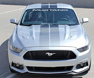 Jis Decals Generic Mustang Windshield Decal (40 INCH Wide) Silver