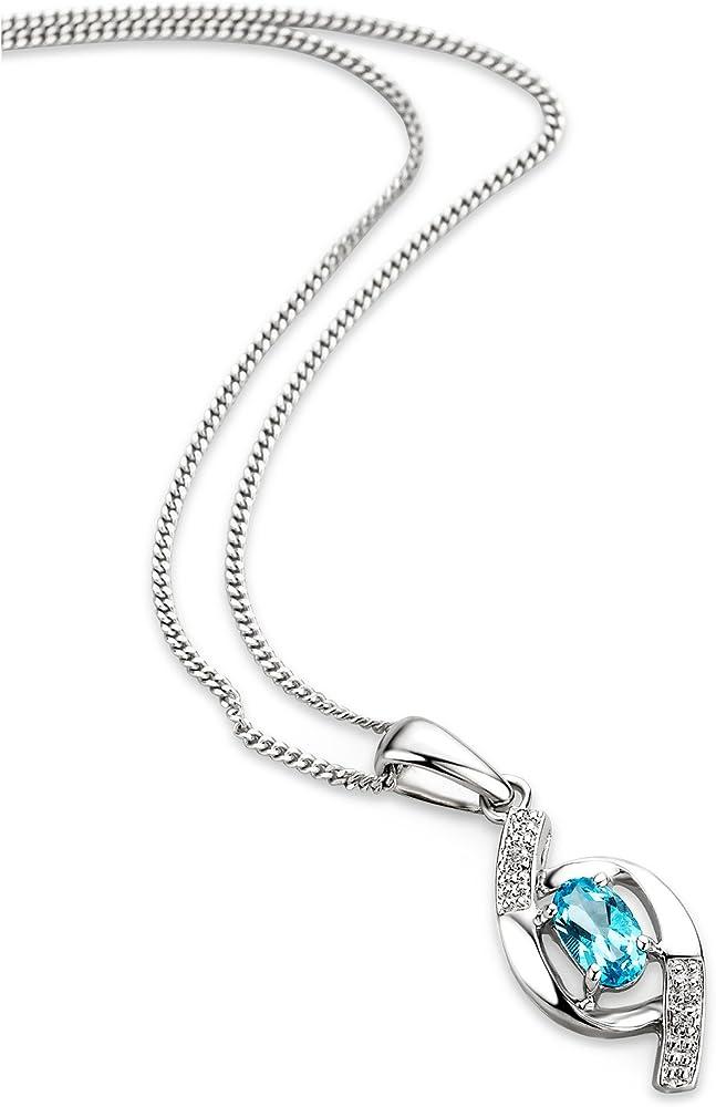 Orovi , collana da donna in oro bianco 9 ct/375(0,76 gr)con pendente in topazio di diamanti 0,25 ct OR81005N