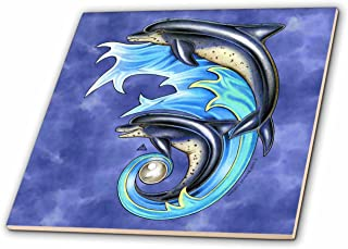 3dRose ct_156685_1 Breeze and Brine Dolphin Marine Wildlife Art Ceramic Tile, 4-Inch
