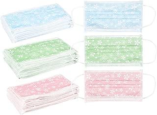 Juvale Pack of 60 Flower Pattern Disposable Face Masks - Medical Mask - Allergy Mask - Dental Mask - Flu Mask, Blue, Green, Pink