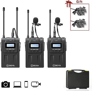 BOYA UHF Premium Sistema de micrófono inalámbrico con transmisores y receptores inalámbricos Compatible con cámara Sony Nikon DSLR, cámara XLR, iPhone, para entrevistas