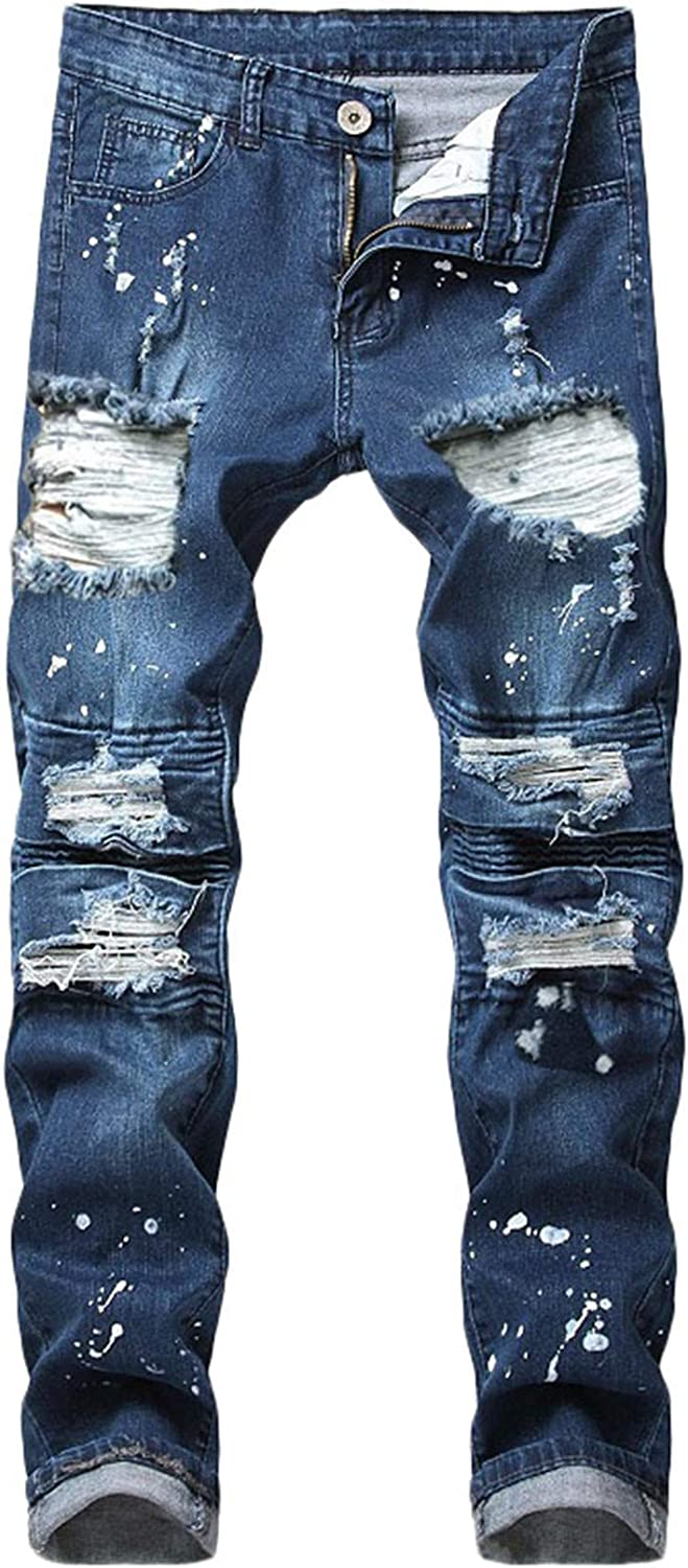 Sales results No. 1 Andongnywell Men's Skinny Destroyed Max 54% OFF Cotton Knee Slim Distr Jeans