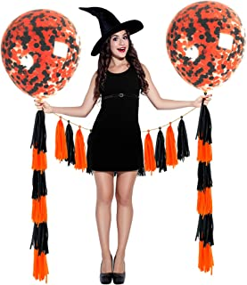Treasures Gifted Halloween Party Decorations Clear Confetti Balloons Indoor and Outdoor Black and Orange Tassel Balloon Garland for Birthday Baby Shower Decor Classroom Supplies Set