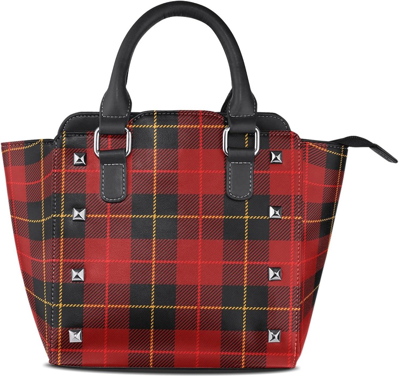 My Little Nest Women's Top Handle Satchel Handbag Traditional Red Black Tartan Plaid Pattern Ladies PU Leather Shoulder Bag Crossbody Bag
