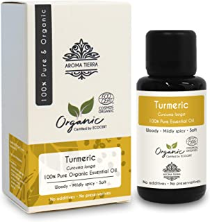 Turmeric Essential Oil or Curcumin Oil (Curcuma longa) - Aroma Tierra - 100% Pure, Natural, Certified Organic by ECOCERT -...