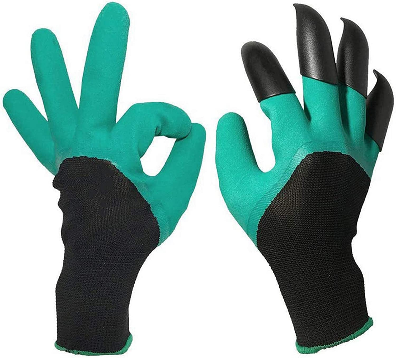 Gardening Genie Gloves, Waterproof and Breathable Rubber Coated Garden Gloves with Claw for Digging Weeding Planting