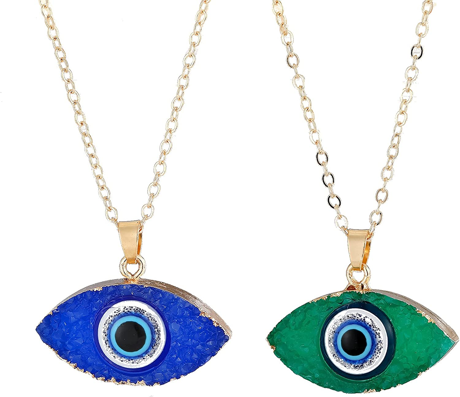 COLORFUL BLING 2 Pieces Gold Plated Imitated Druzy Evil Eye Pendant Necklace Faith Protection Lucky Turkish Amulet Jewelry for Women Girls