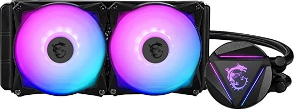 MSI MAG CORELIQUID 240R - AIO RGB CPU Liquid Cooler - Rotating Cap Design - 240mm Radiator - Dual 120mm RGB PWM Fans.