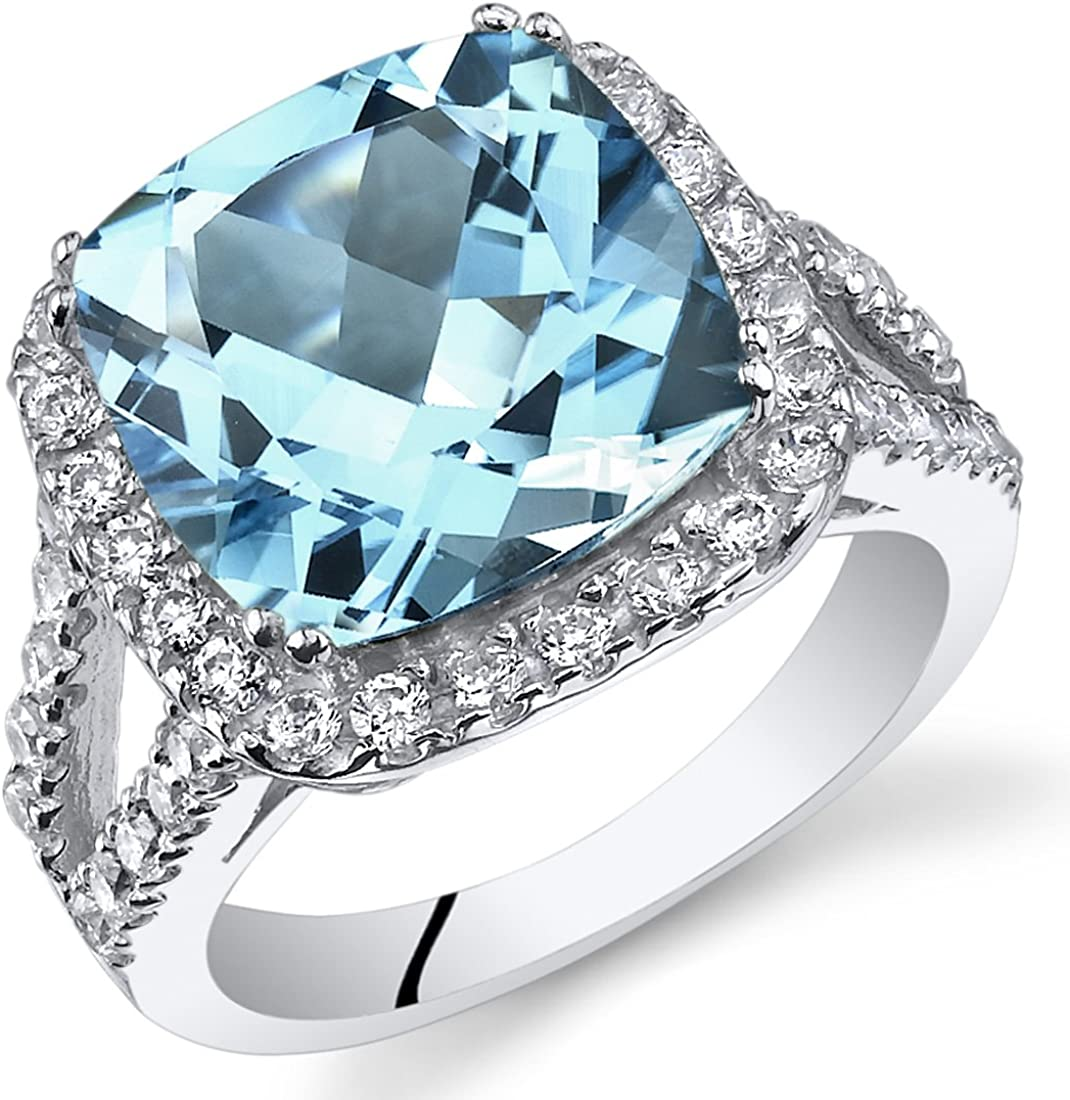 6.25 Chicago Mall Carats Sale SALE% OFF Cushion Cut Swiss Blue Sterling Ring Topaz Silver Si