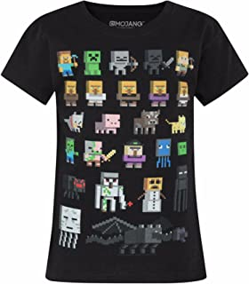 Minecraft Sprites Girl's Black Short Sleeve T-Shirt Sizes 5 to 14 Years