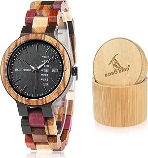 Women Wood Watches Colorful Wood WristWatches Week & Date Display Multifunction Handmade Quartz Watch Sport Chronograph Unique Wristwatch