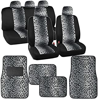BDK Two Tone Gray Leopard Seat Covers Floor Mats for Car Truck SUV Auto Accessories