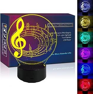 HIPIYA Musical Note LED 3D Bedside Lamp Illusion USB Multi Color Music Score Night Light Birthday Gift for Teenager Artist Singer Singing Boy Girl Kids Bedroom Social Room Concert Decor (Music Score)