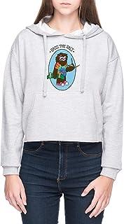 Pass The Salt - Stoner Sloth Mujer Sudadera con Capucha de Crop Gris Women's Crop Hoodie Sweatshirt Grey