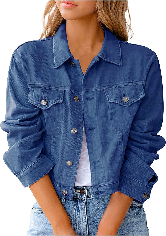 Denim Jackets Women Casual Short Jean Cardigans Classic Front Button Jacket Outerwear Basic Lapel Long Sleeve Open Front
