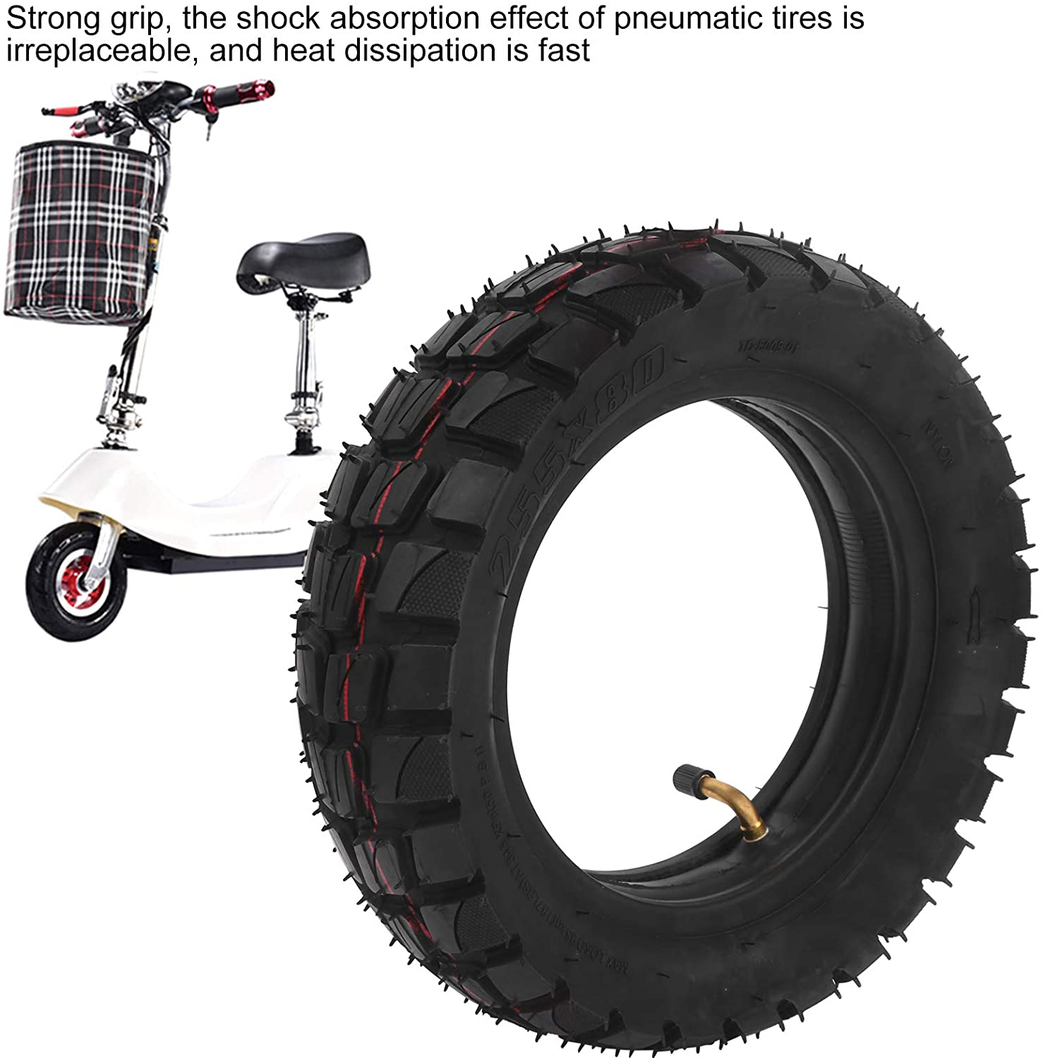 Alomejor Scooter Tire and Inner Tube 10 Inch Off Road City Road Tire Inner Tube Inflatable Tyre for Electric Scooter